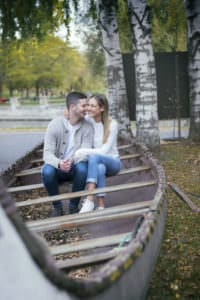suzy greg couple engagement session boat casual jeans style love montreal lachine canal park
